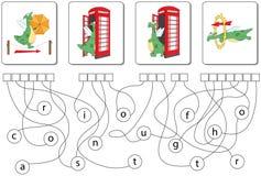 Jogo educacional do enigma com dragão Encontre as palavras escondidas Fotografia de Stock Royalty Free
