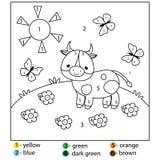 Jogo educacional para crianças e crianças Cor por números Folha imprimível para crianças Página da coloração com vaca ilustração royalty free