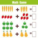 Jogo educacional para crianças, folha da matemática da matemática da adição Fotos de Stock