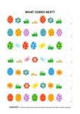 Jogo educacional temático da lógica da Páscoa - reconhecimento de padrões sequencial ilustração royalty free