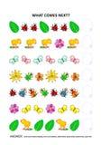 Jogo educacional temático da lógica da mola ou do verão - reconhecimento de padrões sequencial Imagens de Stock