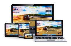 Jogo em dispositivos modernos do computador Imagem de Stock