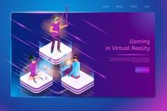 Jogo em linha na bandeira da Web do vetor da realidade virtual ilustração royalty free