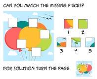 Jogo engraçado do enigma para crianças - mach que os desaparecidos remendam no th ilustração royalty free