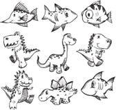 Jogo esboçado do animal do Doodle ilustração stock