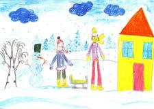 Jogo, esqui e sledding das crianças Faça um boneco de neve ilustração stock