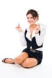 Jogo feliz da mulher com plano de papel imagens de stock royalty free