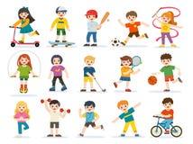 Jogo feliz das crianças desportivo e apreciação de exercícios diferentes dos esportes ilustração stock