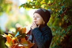 Jogo feliz do boyl pequeno bonito com folhas caídas fotografia de stock