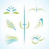 Jogo floral abstrato do logotipo do vetor Imagens de Stock