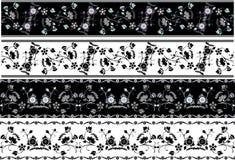 Jogo floral do estêncil das beiras Imagens de Stock Royalty Free