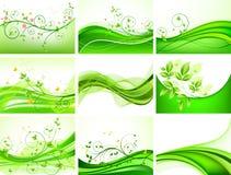 Jogo floral verde abstrato Imagem de Stock Royalty Free