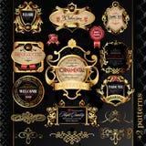 Jogo grande de etiquetas douradas ilustração stock