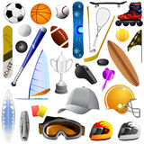 Jogo grande de objetos do esporte ilustração royalty free