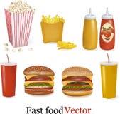 Jogo grande de produtos do fast food. Vetor. Foto de Stock
