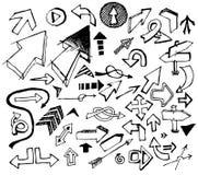 Jogo grande de várias setas pretas do doodle ilustração stock