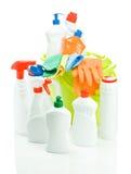 Jogo grande dos líquidos de limpeza com a cubeta isolada Imagem de Stock Royalty Free