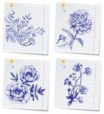 Jogo Hand-drawn da flor do doodle Imagens de Stock Royalty Free