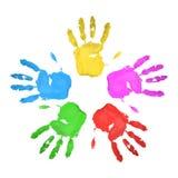 jogo Handprints multicolored Muito ilustração royalty free