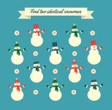 Jogo idêntico dos bonecos de neve do achado dois Imagem de Stock