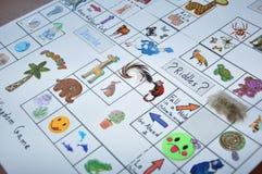 Jogo inglês animal das etiquetas no papel Fotografia de Stock