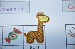 Jogo inglês animal das etiquetas no papel Imagem de Stock