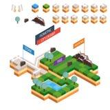 Jogo isométrico da criação do mapa da paisagem Fotografia de Stock