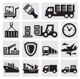 Jogo logístico e do transporte do ícone Fotos de Stock Royalty Free