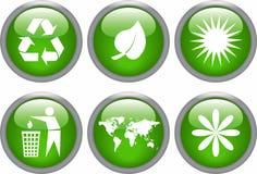 Jogo lustroso do ícone da ecologia Fotografia de Stock