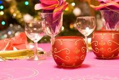 Jogo luxuoso da tabela de um jantar Fotos de Stock Royalty Free