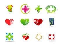 Jogo médico e da saúde do ícone Fotografia de Stock Royalty Free