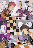 Jogo na xadrez ilustração do vetor