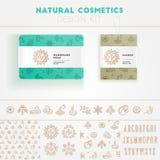 Jogo natural do projeto dos cosméticos Foto de Stock Royalty Free