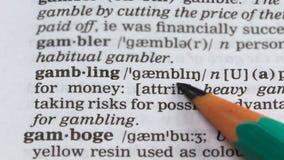 Jogo, palavra significa vocabulário, negócio ilegal, jogar no cassino, risco vídeos de arquivo