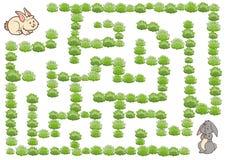 Jogo para crianças, coelho do labirinto ilustração royalty free