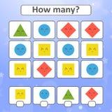 jogo para crianças prées-escolar Conte tantas como formas geométricas na imagem e escreva para baixo o resultado Com um lugar par Ilustração do Vetor