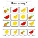 jogo para crianças prées-escolar Conte tantos como frutos na imagem e escreva para baixo o resultado Com um lugar para respostas  ilustração do vetor