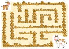 Jogo para crianças, vaca do labirinto ilustração stock