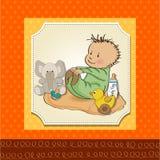 Jogo pequeno do bebé com seu brinquedo Imagens de Stock Royalty Free