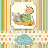 Jogo pequeno do bebé com seu brinquedo Imagem de Stock Royalty Free