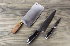 Jogo preliminar da faca de cozinha Foto de Stock