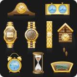 Jogo preto do ícone do backgrond dos relógios Imagens de Stock