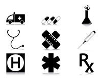 Jogo preto e branco do ícone da medicina Foto de Stock