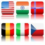 Jogo quadrado do ícone das bandeiras nacionais Fotografia de Stock