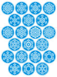 Jogo redondo azul dos flocos de neve Imagem de Stock Royalty Free