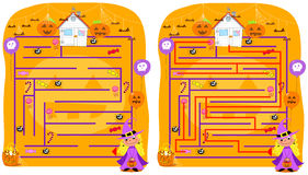 Jogo resolvido do labirinto de Halloween Imagens de Stock