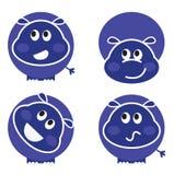 Jogo selvagem bonito do hipopótamo em vários poses Imagem de Stock