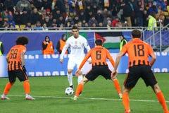 Jogo Shakhtar da liga de campeões de UEFA contra o Real Madrid Foto de Stock Royalty Free