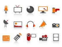 Jogo simples do ícone das ferramentas dos media Imagens de Stock