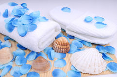 Jogo, toalha e conch dos termas Fotografia de Stock Royalty Free